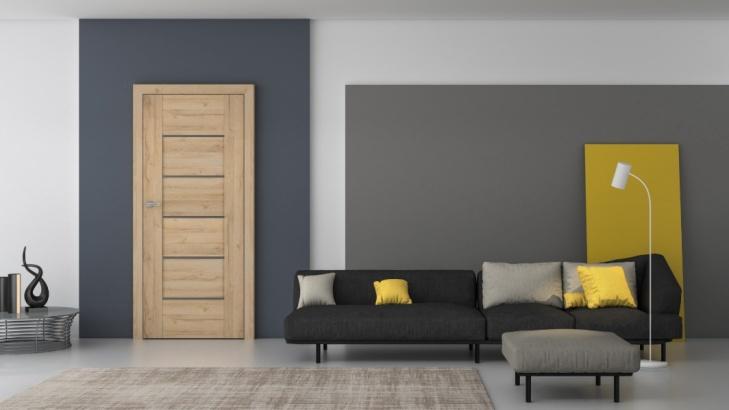 Na zdjęciu wizualizacja minimalistycznych drzwi marki DRE