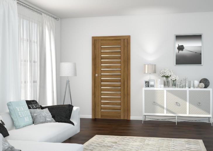 Na zdjęciu wizualizacja drzwi z okleiną imitującą drewno i z przeszkleniem marki DRE.