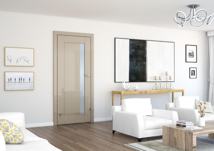 Na zdjęciu wizualizacja drzwi z połyskiem i przeszkleniem marki DRE.