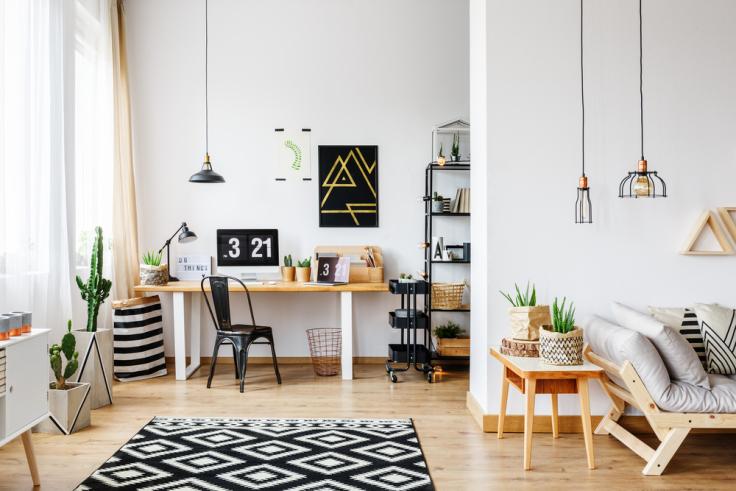 Domowe biuro styl industrialny