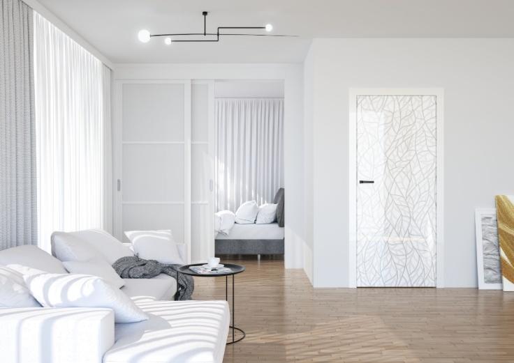 Na zdjęciu wizualizacja drzwi z nadrukiem marki DRE.